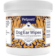 Petpost Ear Wipes with Coconut Oil & Aloe Vera For Dogs, 100 count