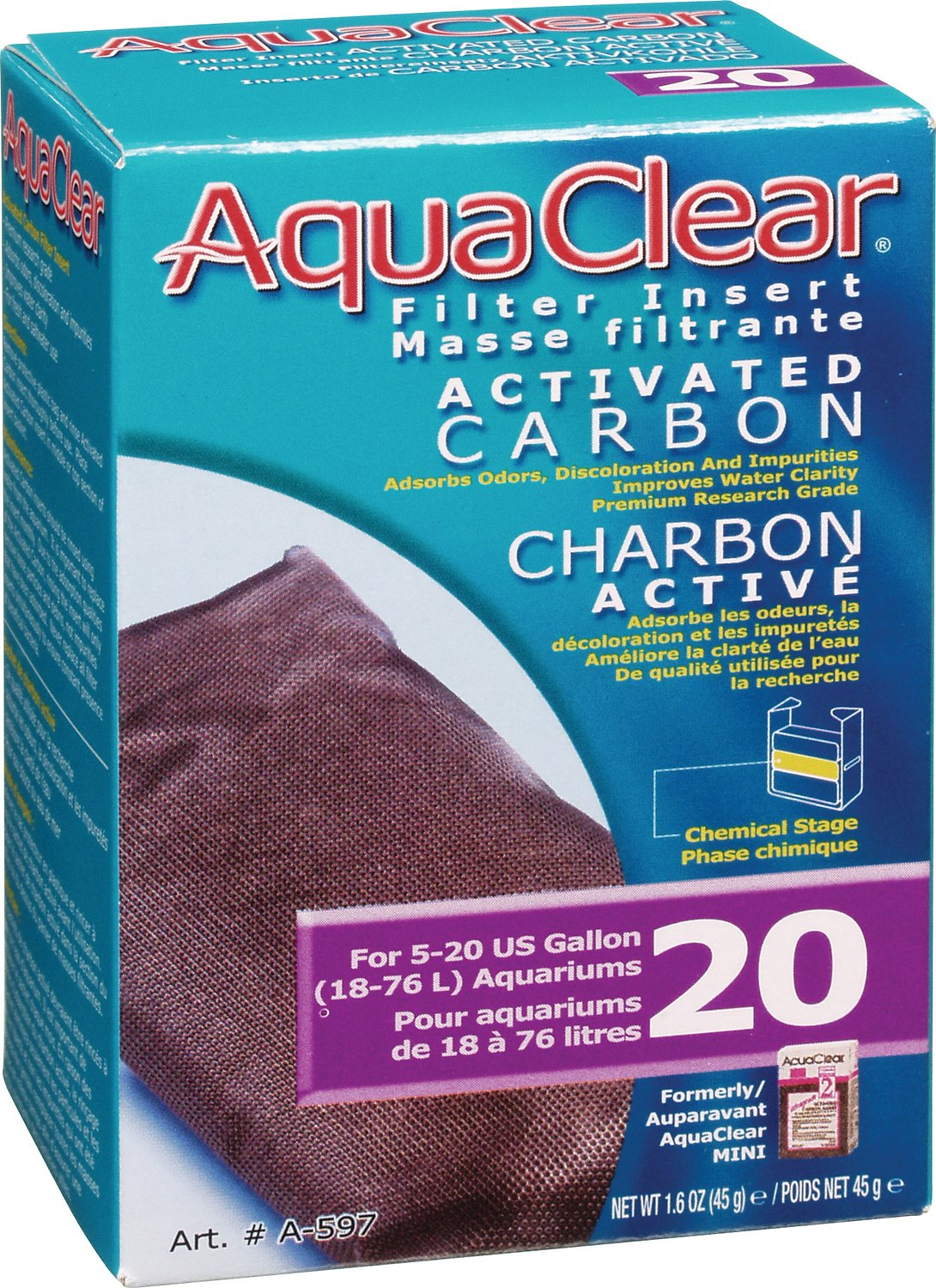 aquaclear mini activated carbon filter insert size 20 chewy com