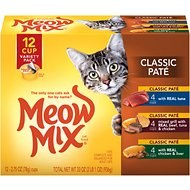 Meow Mix Classic Pate Variety Pack Cat Food Trays, 2.75-oz, case of 12