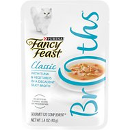 Fancy Feast Classic Broths with Tuna & Vegetables Supplemental Cat Food Pouches, 1.4-oz pouch, case of 16