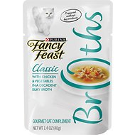 Fancy Feast Classic Broths with Chicken & Vegetables Supplemental Cat Food Pouches, 1.4-oz, case of 16