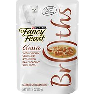 Fancy Feast Classic Broths with Chicken, Vegetables & Whitefish Supplemental Cat Food Pouches, 1.4-oz, case of 16
