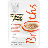 Fancy Feast Creamy Broths with Chicken & Vegetables Supplemental Cat Food Pouches, 1.4-oz, case of 16