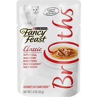 Fancy Feast Classic Broths with Tuna, Anchovies & Whitefish Supplemental Cat Food Pouches, 1.4-oz pouch, case of 16