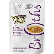 Fancy Feast Classic Broths with Mackerel & Vegetables Supplemental Cat Food Pouches, 1.4-oz pouch, case of 16