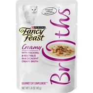 Fancy Feast Creamy Broths with Mackerel & Vegetables Supplemental Cat Food Pouches, 1.4-oz pouch, case of 16