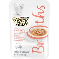 Fancy Feast Classic Broths with Wild Salmon & Vegetables Supplemental Wet Cat Food Pouches, 1.4-oz pouch, case of 16