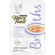 Fancy Feast Creamy Broths with Wild Salmon & Whitefish Supplemental Cat Food Pouches, 1.4-oz pouch, case of 16