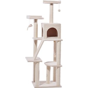 Frisco 68-in Faux Fur Cat Tree & Condo, Cream; Your cat can be the kitty king of his castle with The Frisco 68-Inch Cream Cat Tree. The ultimate all-in-one hangout spot for felines, it features platform perches at various heights for a shift in purr-spective. It's made with larger scratching posts than you'll find in other standard trees, and that means more durability, whether it's one kitty or the whole crew moving in! The posts are also fully wrapped in sisal rope so they can stand up to extended scratching. For even more scratching, a scratching board ramp is included, and connected at both points of contact so it's extra stable. A roomier kitty condo is perfect for cats that love the extra stretching room, and this real estate is pretty and sturdy—that's because it has hidden support bars built right in for added stability. Plus, the ultra-soft sherpa fleece fabric inside is just the right amount of cozy for catnaps. It's your kitty's choice—bat the dangling toys, leap from perch to perch, scope out the terrain from atop the tree, scratch or snooze out of sight in the condo, just the way he likes it.