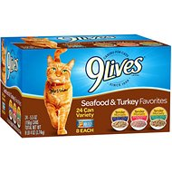 9 Lives Seafood & Turkey Favorites Variety Pack Canned Cat Food, 5.5-oz, case of 24