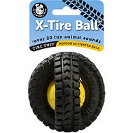 Pet Qwerks Animal Sound X-Tire Ball Dog Toy, 3.5-inch