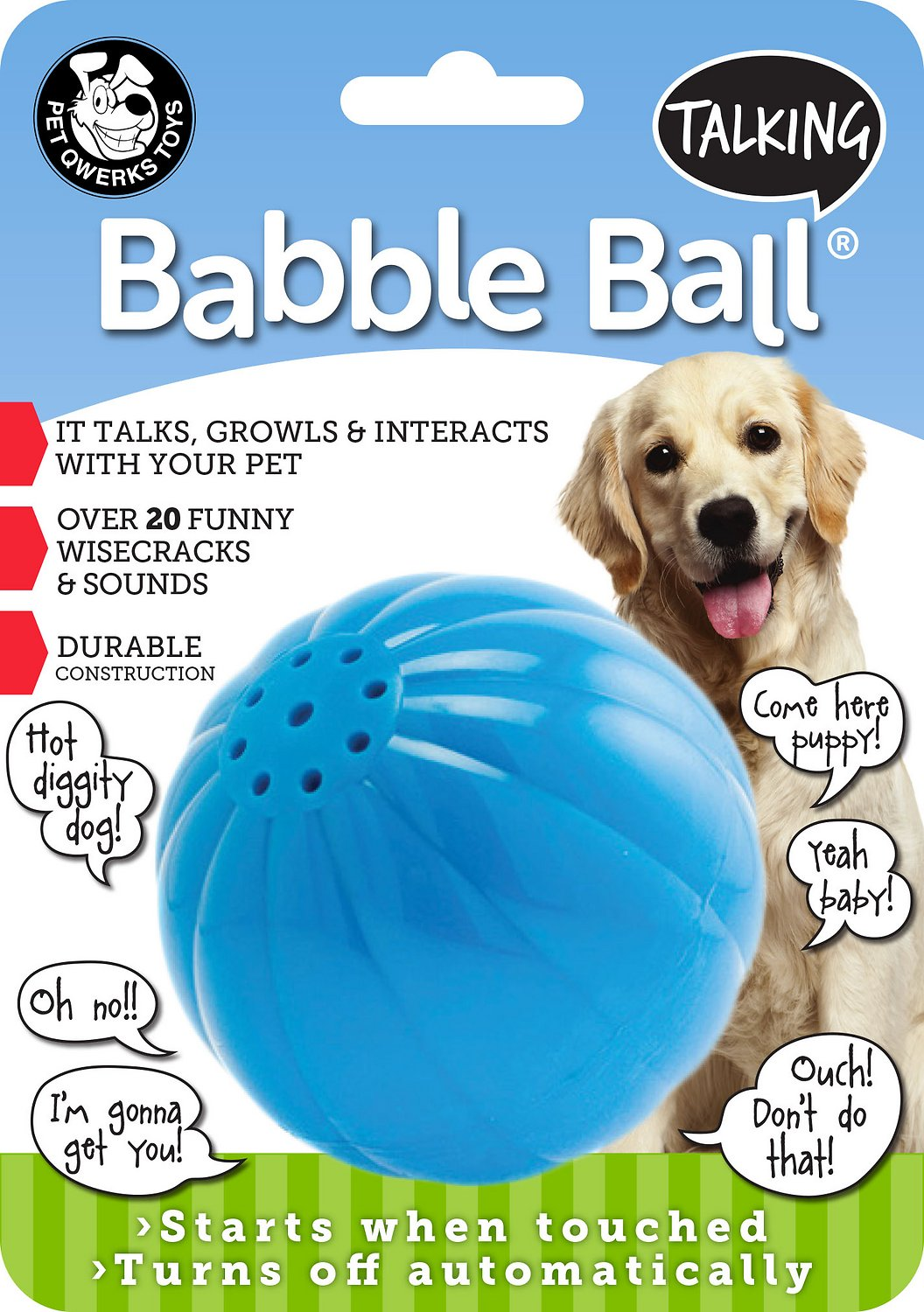 Pet Qwerks Talking Babble Ball Dog Toy Large Chewy Com