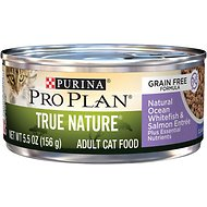 Purina Pro Plan Classic Adult True Nature Grain-Free Natural Ocean Whitefish & Salmon Entree Canned Cat Food, 5.5-oz, case of 24