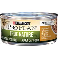 Purina Pro Plan True Nature Classic Natural Chicken & Liver Entree Grain-Free Canned Cat Food, 5.5-oz, case of 24
