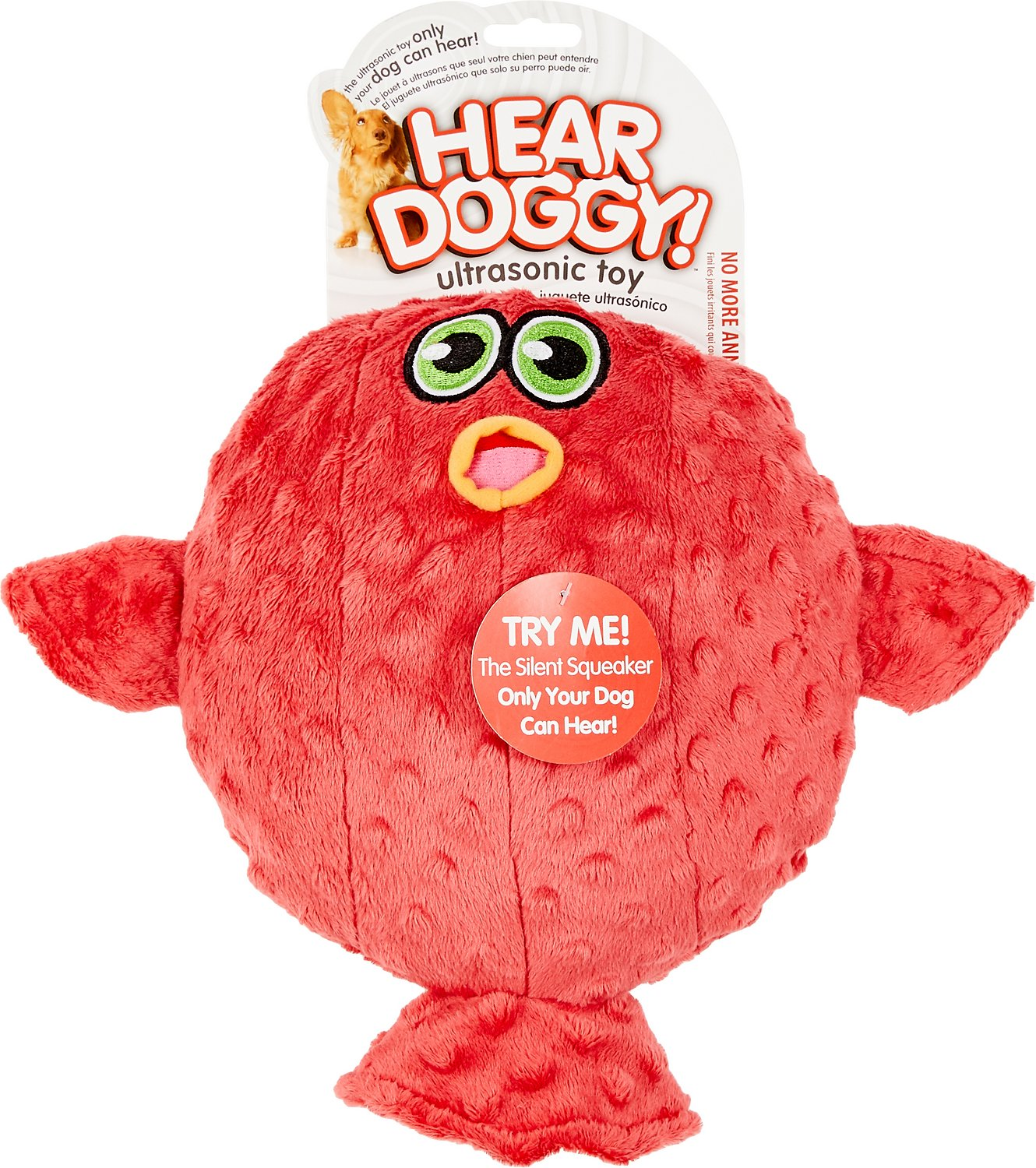 Hear doggy silent squeaker blow fish dog toy large for Fish dog toy