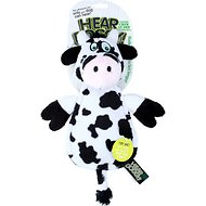 Hear Doggy Silent Squeaker Chew Guard Flattie Cow Dog Toy
