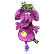 Hear Doggy Silent Squeaker Chew Guard Flattie Elephant Dog Toy