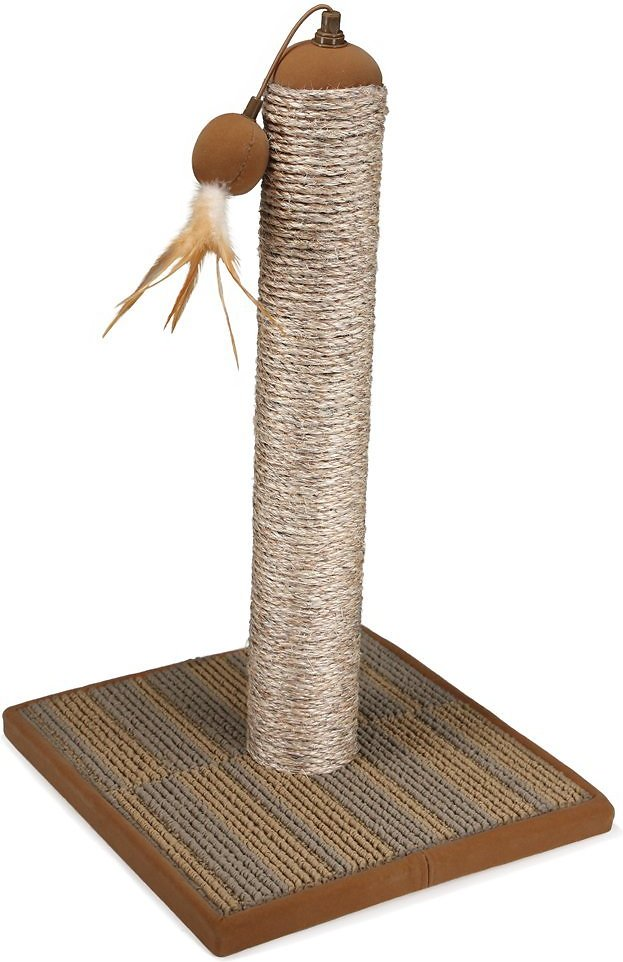 petlinks pillar pawz sisal cat scratching post with catnip feather toy