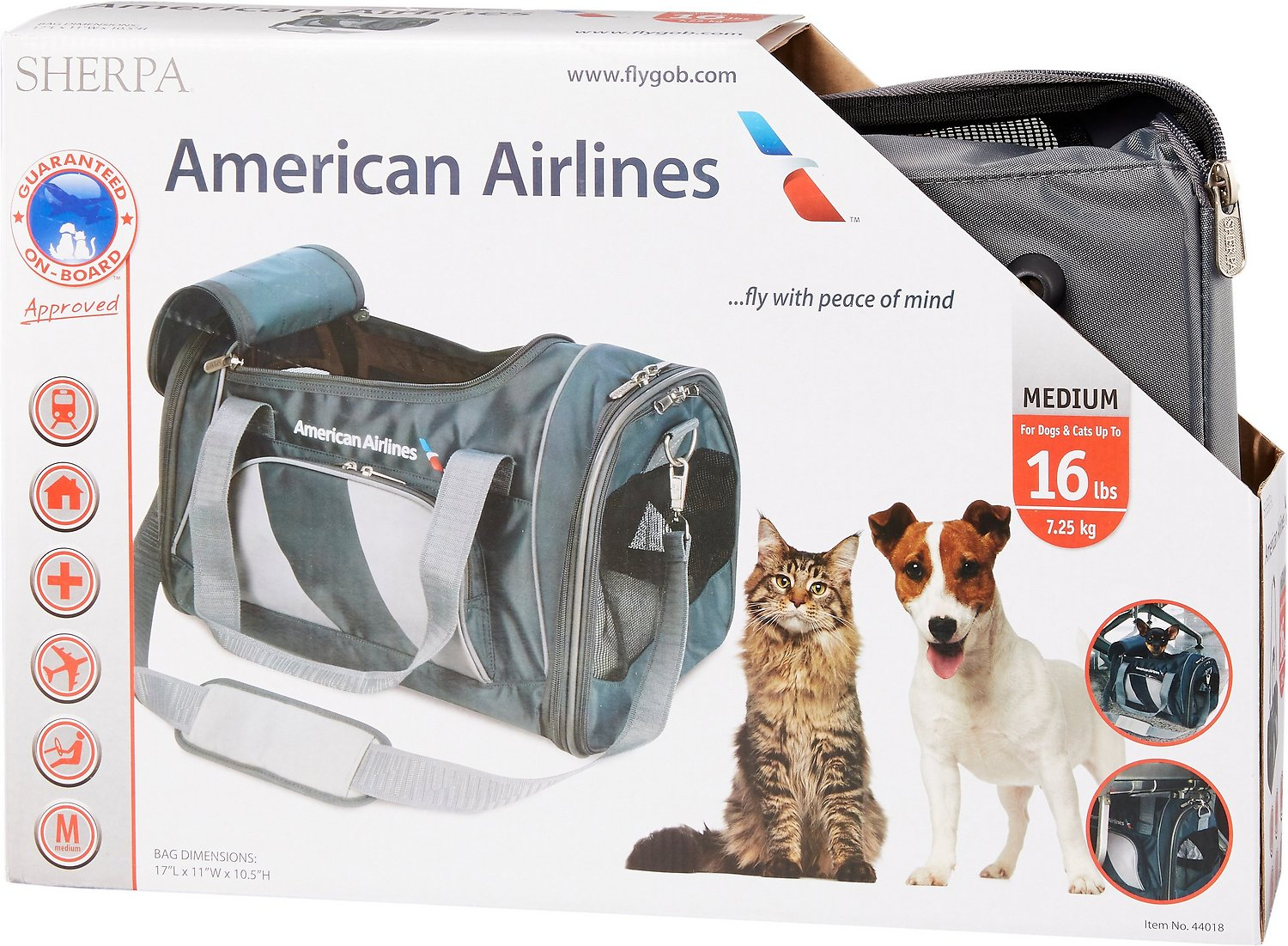 34a63646ca Sherpa American Airlines Duffle Pet Carrier, Charcoal - Chewy.com
