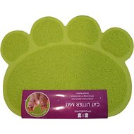 Two Meows Paw Shaped Litter Catching Mat, Green