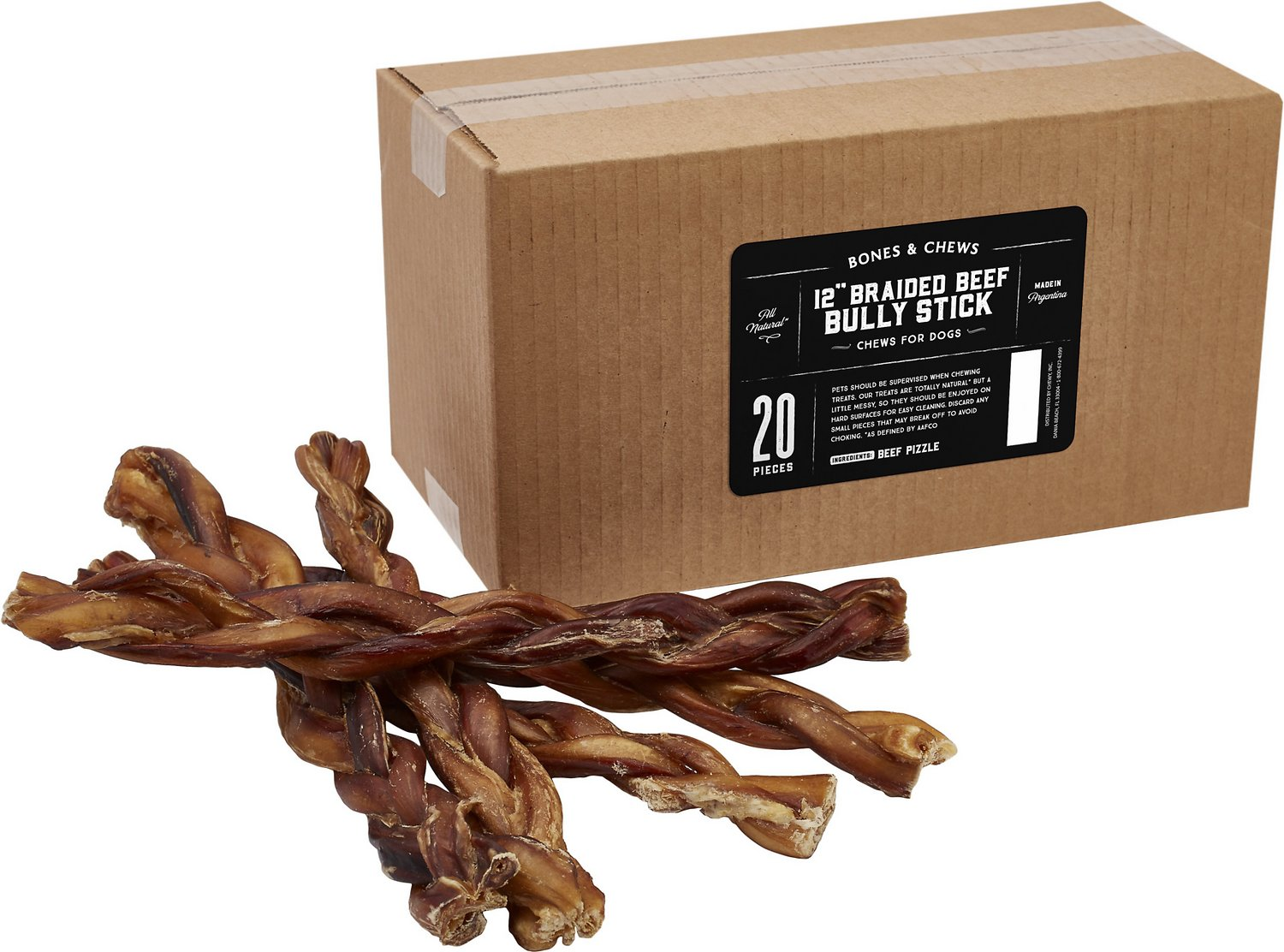 bones chews braided bully stick 12 dog treats case of 20. Black Bedroom Furniture Sets. Home Design Ideas
