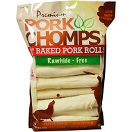 Premium Pork Chomps Baked Pork Rolls Dog Treats, 8-inch, 18 count