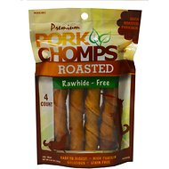 Premium Pork Chomps Roasted Twists Dog Treats, Large, 4 count