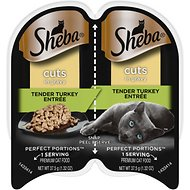 Sheba Perfect Portions Grain-Free Tender Turkey Cuts in Gravy Entree Cat Food Trays, 2.6-oz, case of 24 twin-packs