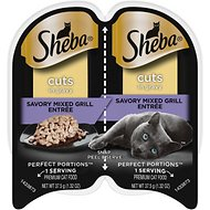 Sheba Perfect Portions Grain-Free Savory Mixed Grill Cuts in Gravy Entree Cat Food Trays, 2.6-oz, case of 24 twin-packs