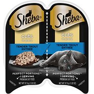 Sheba Perfect Portions Grain-Free Tender Trout Cuts in Gravy Entree Cat Food Trays, 2.6-oz, case of 24 twin-packs