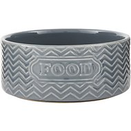 Signature Housewares Embossed Food Pet Bowl, Gray, X-Small