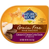 Nature's Recipe Grain-Free Chicken & Chicken Liver Recipe in Broth Wet Cat Food, 2.75-oz, case of 24