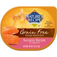 Nature's Recipe Grain-Free Salmon Recipe in Broth Wet Cat Food, 2.75-oz, case of 24
