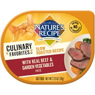 Nature's Recipe Culinary Favorites Slow Roasted Recipe with Real Beef & Garden Vegetables Pate Wet Cat Food, 2.75-oz, case of 24