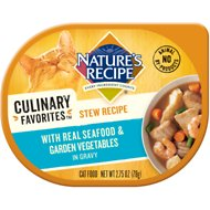 Nature's Recipe Culinary Favorites Stew Recipe with Real Seafood & Garden Vegetables in Gravy Wet Cat Food, 2.75-oz, case of 24