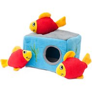 ZippyPaws Burrow Squeaky Hide and Seek Plush Dog Toy, Aquarium 'n Fish, Puzzle Set