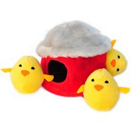 ZippyPaws Burrow Squeaky Hide and Seek Plush Dog Toy, Chicken Hut, Puzzle Set