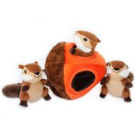 ZippyPaws Burrow Squeaky Hide and Seek Plush Dog Toy, Chipmunk 'n Acorn, Puzzle Set