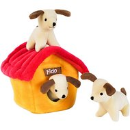 ZippyPaws Burrow Squeaky Hide and Seek Plush Dog Toy, Dog House, Puzzle Set