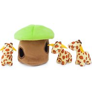 ZippyPaws Burrow Squeaky Hide & Seek Plush Dog Toy, Giraffe Lodge, Puzzle Set