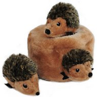 ZippyPaws Burrow Squeaky Hide and Seek Plush Dog Toy, Hedgehog Den, Puzzle Set