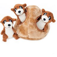 ZippyPaws Burrow Squeaky Hide and Seek Plush Dog Toy, Meerkat Den, Puzzle Set