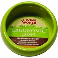 Living World Green Ergonomic  Small Pet Dish, Small