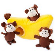 ZippyPaws Burrow Squeaky Hide and Seek Plush Dog Toy, Monkey 'n Banana, Puzzle Set