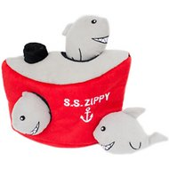 ZippyPaws Burrow Squeaky Hide and Seek Plush Dog Toy, Shark 'n Ship, Puzzle Set