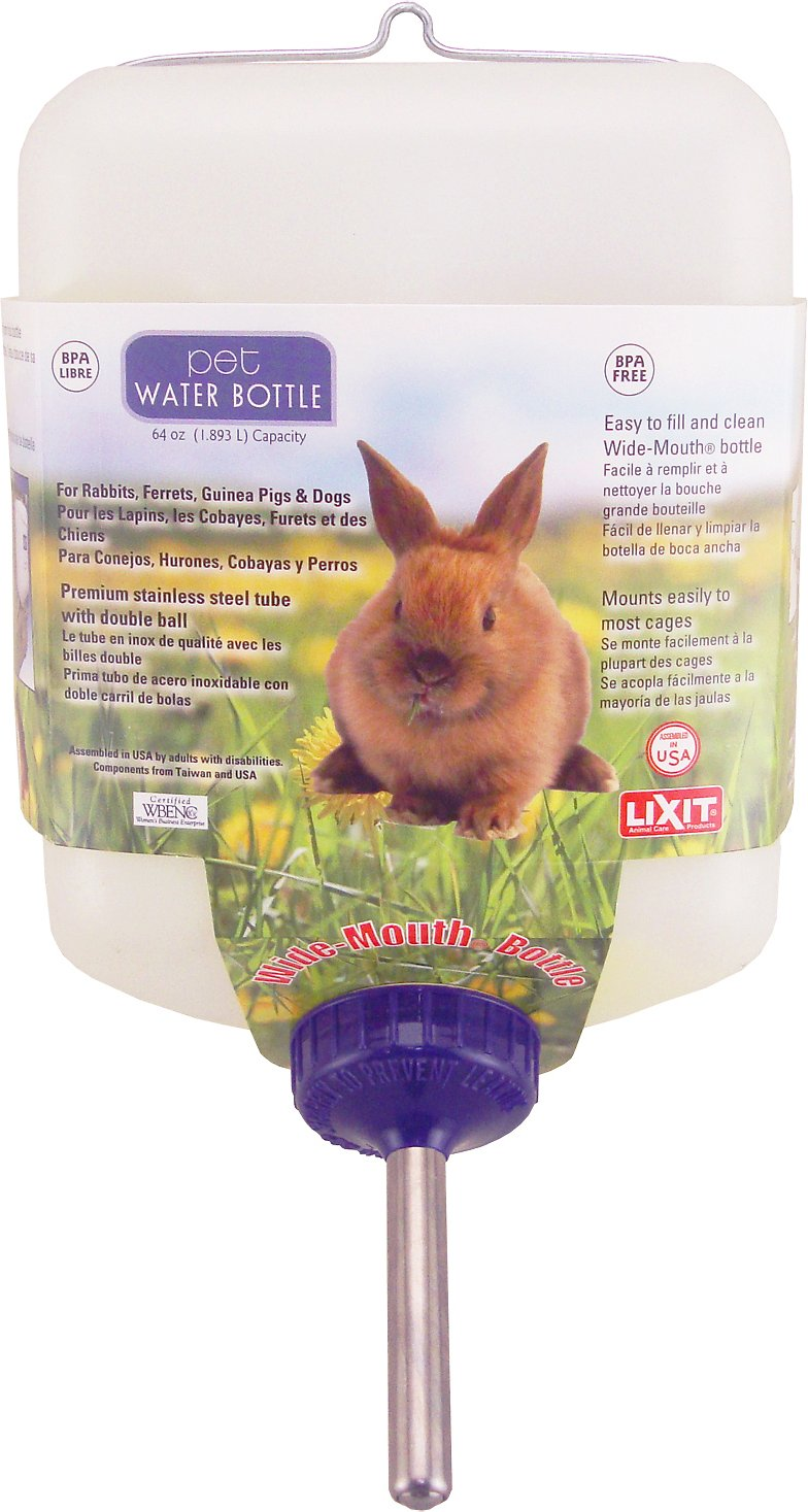 Lixit Wide-Mouth Small Animal Water Bottle, 64-oz bottle