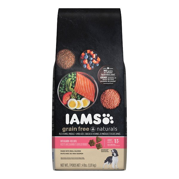 Iams grain free naturals salmon red lentil recipe adult for Purina tropical fish food