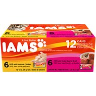 Iams Premium Pate with Gourmet Chicken & Tender Beef Variety Pack Canned Cat Food, 3-oz, case of 12