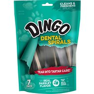 Dingo Dental Rawhide Spirals for Fresh Breath Dog Treats, 7 count