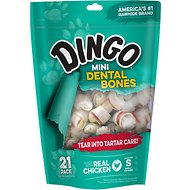 Dingo Mini Dental Bones Chicken Flavored Dog Rawhide Chews, 21 count